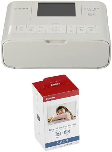 Canon Wireless Compact Photo Printer with AirPrint and Mopria Device Printing, White + Color Ink and 108 Sheet 4 x 6 ...