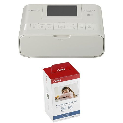 Canon Wireless Compact Photo Printer with AirPrint and Mopria Device Printing, White + Color Ink and 108 Sheet 4 x 6 Paper Set