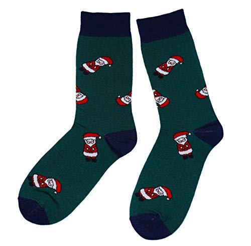 Weri Spezials Frohe Weihnachten Herren Socken mit lustigen Weihnachtsmanner! In dunkel gruen Gr. 39-42