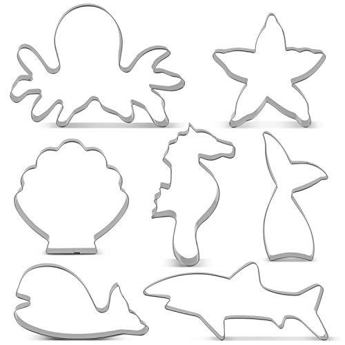 KENIAO Ozean Kreatur Meerjungfrau Ausstechformen Set Ausstecher- 7 PCS - Meerjungfrau Schwanz/Walschwanz, Seepferdchen, Seestern Hai, Wal, Tintenfisch und Muschel - Edelstahl