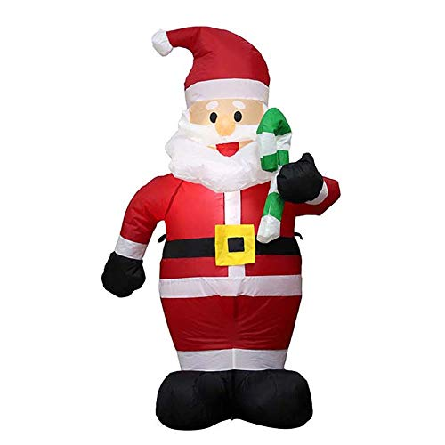 WLNKJ Santa Claus Christmas Decorations 4FT Inflatable Cane Santa Claus with LED Lights for Outdoor Indoor Holiday Yard Party Lawn Decoration Props