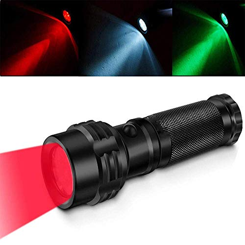 Multicolor Red Green White Light LED Flashlight Outdoor Handheld Tactical Torch Professional IPX7 Waterproof Signal Light Flashlight for Night Vision Hunting Fishing Walking Reading Detector