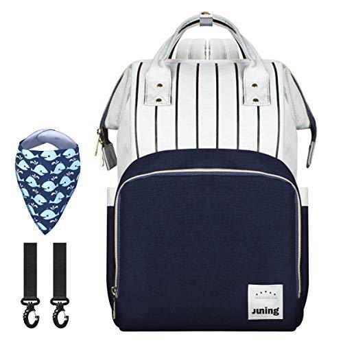 JUNING babyluierrugzak, multifunctioneel, waterdicht, voor op reis, met geïsoleerde fleszakken, zak voor snel toegang, kleding en luiertas, grote capaciteit, duurzaam blauw en grijs.