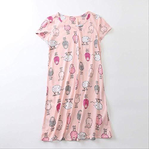 Vestido de algodón con Estampado de Dibujos Animados Lindo para Mujer Vestido de algodón cómodo para Mujer Tallas Grandes Verano Señoras Manga Corta Dulce Homewear XL Oveja Rosa