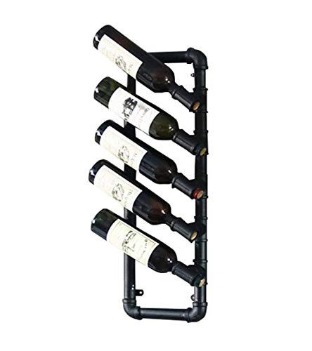 BANNAB Estante para Botellas de Vino Estante para Vino Antiguo Estante para Vino montado en la Pared Estante de Pared para Colgar en la Pared Armario para Vino diseño Industrial Negro