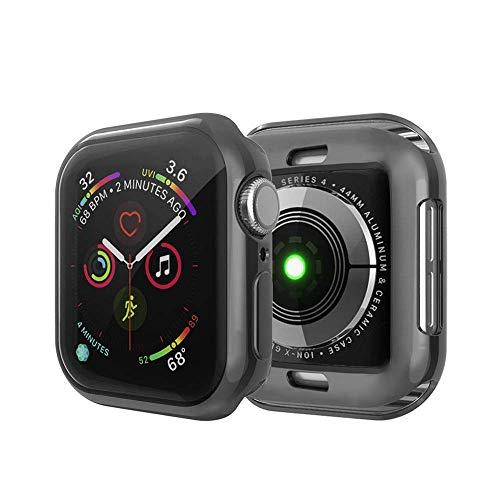 IvyLife Funda para Apple Watch 44mm Carcasa para iWatch Serie 5/4 Funda Suave para iWatch, Carcasa Protección de Pantalla de Apple Watch, TPU Cubierta del Caso Anti-Choque y Anti-rañazos, Negro