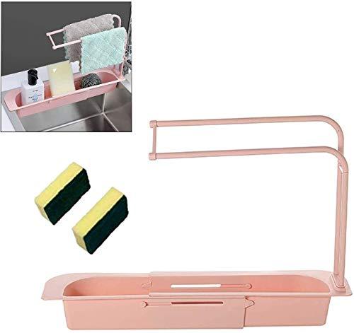 Telescopic drain rack, sink tray, sink storage rack, sponge soap rack, sink rack, expandable water storage basket, tableware rack, household kitchen cleaning brush (pink)