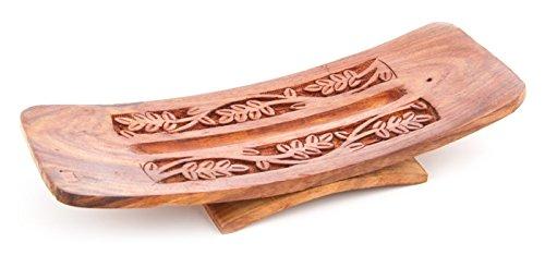 Räucherstäbchenhalter Stäbchenhalter Blätter 26 cm, Holz braun, extrabreiter Halter zum Räuchern von Räucherstäbchen, Räucherzubehör