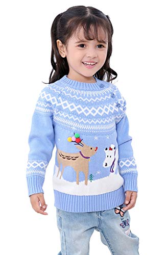 Shineflow Unisex Kid's Rudolph Reindeer Red Nose Ugly Christmas Sweater Jumper (Blue, 3Y)