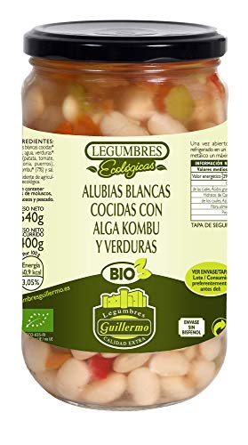 Guillermo Alubias Blancas Cocidas con Alga Kombu y Verduras Ecológicas BIO Judias Categoría Extra Conserva Tarro 540gr