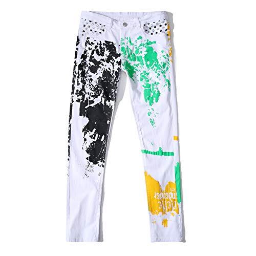 Huntrly Jeans para Hombres Americana Estampado Delgado con Personalidad Jeans Rasgados Pantalones de Mezclilla de Moda callejera 36