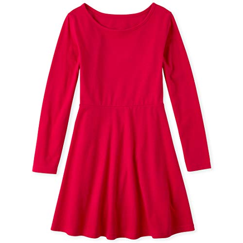 The Children's Place Girls' Big Heart Back Dress, Ruby, M (7/8)