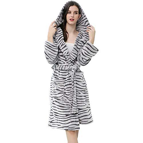 WJXBoos Womens Plüsch Fleece Hooded Bademantel, Verdicken Sie Warme Kimono Bademantel Zebra Muster Mittlere Länge Nachtwäsche-weiß M