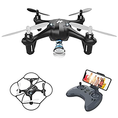 Mini Drone with Camera Drones for Children and Beginners AT-96 FPV WiFi Transmission G-sensor Removable Battery Quadricopter ,Intelligent Gravity Sensing ,3D Flips,One Key Operation(Black)