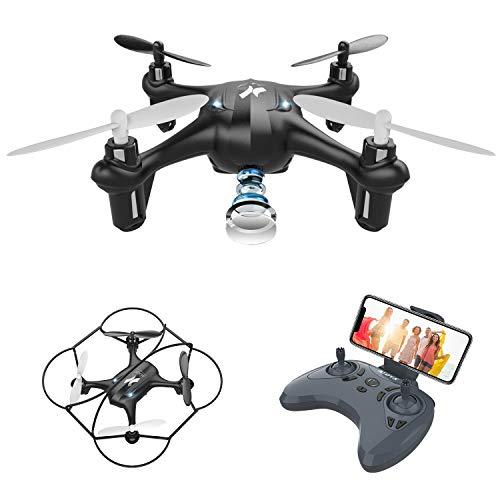 ATOYX Mini Drohne mit Kamera für Kinder, AT-96 RC Quadcopter mit Echtzeit-FPV-App, Spielzeug drohne für Kinder/Anfänger, Schwerkraftsensor,Headless Modus, 3D-Flip, Start / Landung, Schwarz