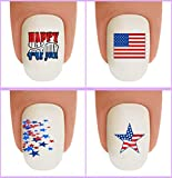 Nail Art Decals Waterslide Nail Transfers Stickers 48pc Holiday 4th of July - July 4th American Flag Fireworks Red Blue Mini Stars - Salon Quality! DIY Nail Accessories