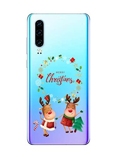Suhctup Funda Linda Motivo Navideño Compatible con Huawei P10,Transparente Ultrafina Anti-caída Escudo Protector Suave TPU Silicona Antigolpes Interesante Caso Serie Navidad