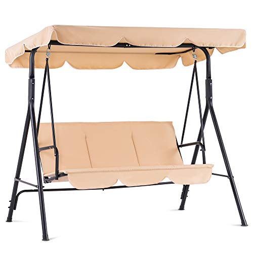 Mcombo 3Person Outdoor Patio Swing Chair Convertible Canopy Hanging Swing Glider Lounge Chair Removable Cushions 4003 Beige