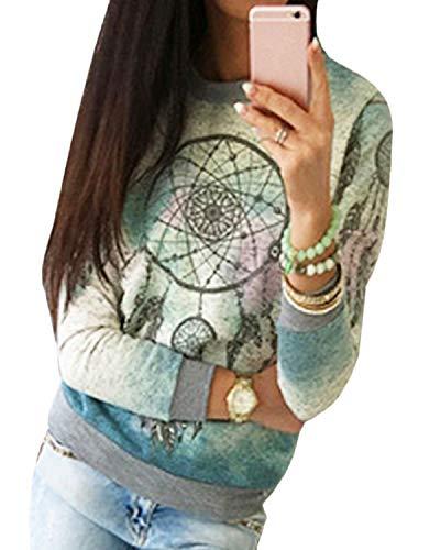 YOINS - Camiseta de manga larga para mujer, asimétrica, cuello redondo, suelta, patchwork Fantasia. XS
