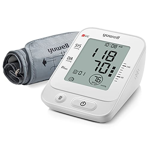 yuwell Blood Pressure Monitor, Extra Large Upper Arm Cuff, Digital BP Machine for Home Use & Pulse Rate Monitoring Meter, Automatic, Large Display, Voice Broadcasting with Power Adapter and Batteries