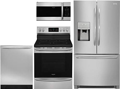 """Frigidaire 4 Piece Kitchen Appliance Package with FGHD2368TF 36"""" French Door Refrigerator FGEF3036TF 30"""" Electric Range FGMV176NTF 30"""" Over the Range Microwave and FGID2466QF 24"""" Built In Dishwasher in Stainless Steel"""