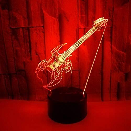 Yujzpl 3D-illusielamp Led-nachtlampje, USB-aangedreven 7 kleuren Knipperende aanraakschakelaar Slaapkamer Decoratie Verlichting voor kinderen Kerstcadeau-elektrische gitaar