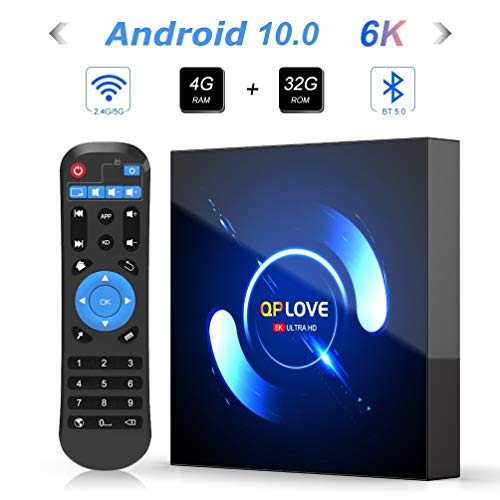 Android TV Box, QPLOVE Q6 Android 10.0 TV Box 4GB RAM 32GB ROM H616 Quad-Core CPU Mali-G31...