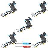 MMOBIEL Paquete de 5 Repuesto Conector Dock de Carga Compatible con iPhone 6S Plus (Negro), Incl. 2 X Destornilladores