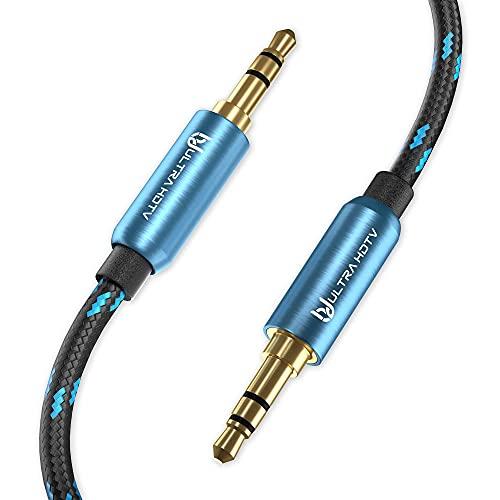 Ultra HDTV Premium AUX Kabel - Klinkenkabel mit 3,5 mm auf 3,5 mm Klinkenstecker, Stereo Audiokabel mit Knickschutz Nylon-Mantel, Vollmetall Steckern und vergoldeten Kontakten (1 Meter)
