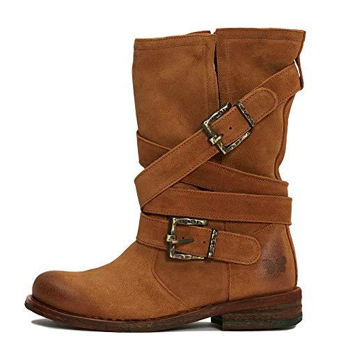 Felmini - Damen Schuhe - Verlieben GREDO 8562 - Cowboy & Biker Stiefel - Echtes Leder - Braun - 41 EU Size