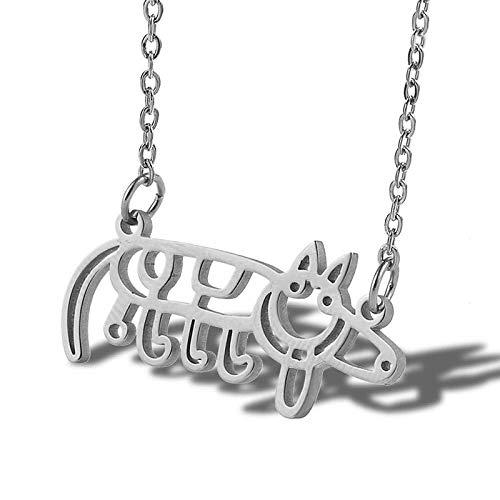 Gepersonaliseerde accessoires, kettingen, gesneden varken hanger ketting kinderen tekenen dier varken sieraden kettingen in roestvrij staal, Thumby ZILVER