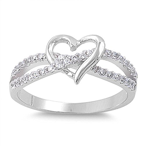 Oxford Diamond Co Cubic Zirconia Infinity with Heart .925 Sterling Silver Ring Size 8