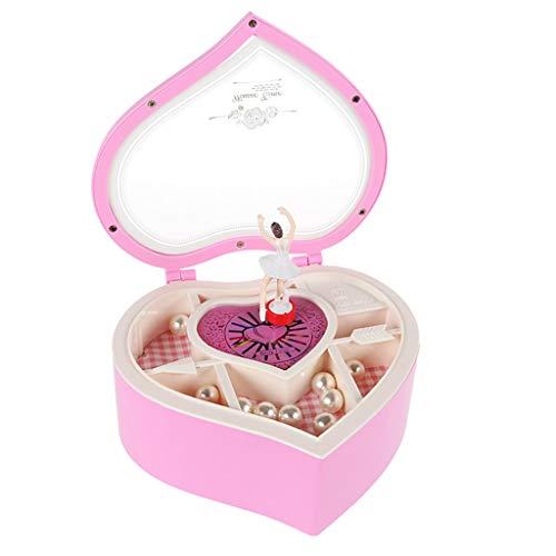 QIAOLI Caja de música para niños, caja de música para niñas, con compartimento y juego de joyas con bailarina giratoria, caja de música de madera, juguete musical (color rosa)