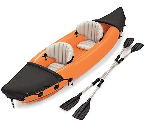 MOOLUNS Kajak Fahren, Aufblasbares PVC-kajak, 2-Personen-schlauchboot-Set, Faltbares Aufblasbares Kanu, 160Kg Tragend, (mit Rudern)