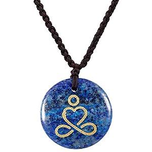 KYEYGWO Gravierte Kristall Stein Halskette für Unisex Healing Chakra Amulett Anhänger Halskette zum Schutz