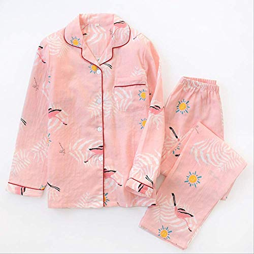XFLOWR Lente Vrouwen Pajama Set 100% Gauze Katoen Kraan Gedrukt Dames Comfort Slaapmode Casual Wear Lange Mouw En Broek Huiskleding