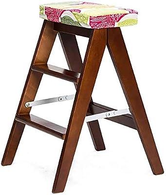 HOMRanger Taburete Plegable de Madera Maciza Taburete Plegable Simple de la Escalera Taburete de la Cocina Taburete portátil Banco casero 20 39 59Cm Hogar Conveniente: Amazon.es: Hogar