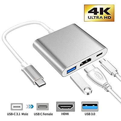 XMXWEI USB C to HDMI Adapter, Multiport Type C to HDMI 4K Adapter with USB 3.0 USB C Port Digital Converter Compatible with MacBook iMac Galaxy S10/S9 Note 9/ChromeBook