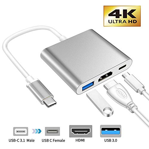 XMXWEI Adaptador USB C a HDMI, Hub USB Tipo C HDMI 4K Dex Station + USB 3.0 + USB PD Carga Rapida Compatibile con MacBook iMac Galaxy S10/S9/S8 Note 8/ChromeBook
