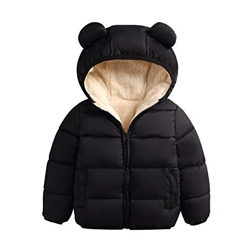 CHRONSTYLE Winter Coats for Kids with Hoods (Padded) Light Puffer Jacket Lining Cotton Thick Outerwear Hooded Coat for Baby Boys Girls, Infants, Toddlers (Schwarz, 6-12 Monate)
