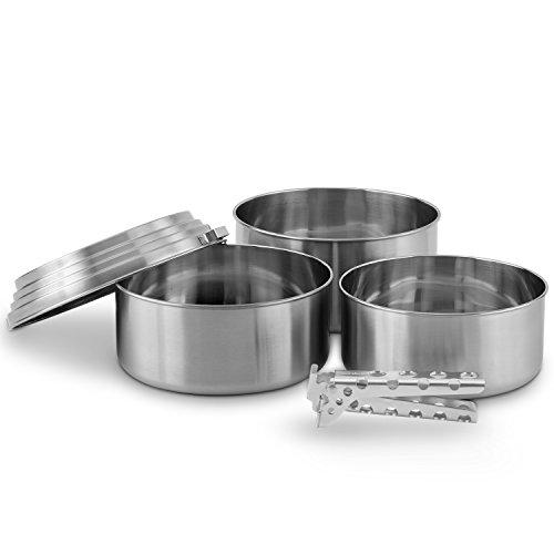 Solo Stove 3 Pot Set - Edelstahl Camping & Backpacking Kochtöpfe. Toll zur Verwendung Leichter Topfgreifer aus Aluminium inkludiert.