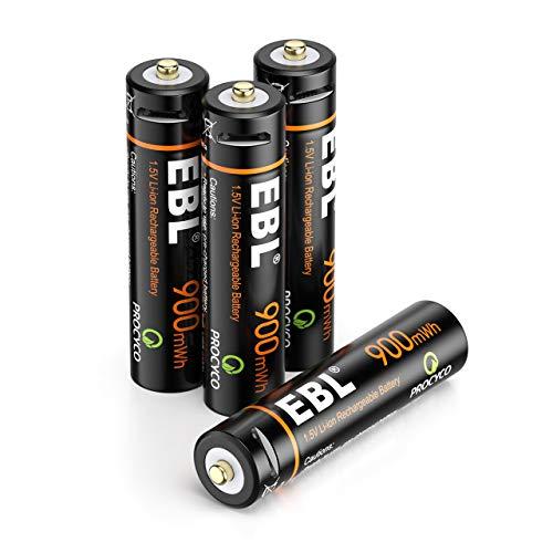 EBL AAA Akku 1,5V 900mWh wiederaufladbare batterien mit Micro-Ladekabel Schnellladung in 2 Stunden (4er Pack
