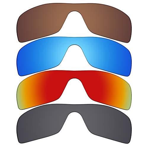 Mryok Lot de 4 paires de lentilles de rechange polarisées pour lunettes de soleil Oakley Batwolf Noir furtif Rouge feu Bleu glacier/Bronze Bronze