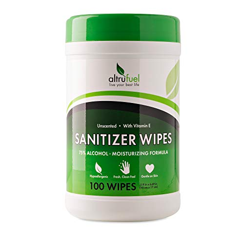Altrufuel Alcohol Wipes, Disposable Hand Sanitizer Wipes for Travel, 100-Count