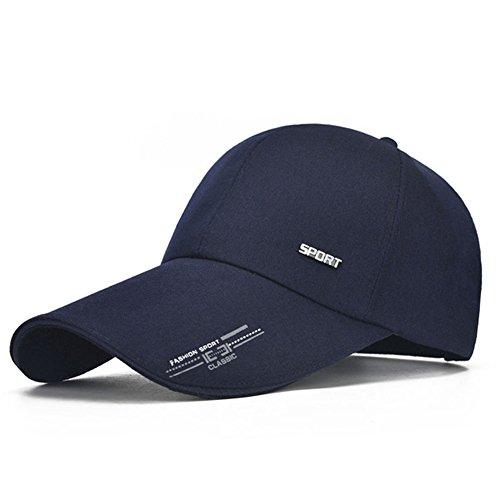 Chytaii Gorra béisbol Deporte Tenis Golf Sombrero de Sol Unisex Ajustable Anti-Soleil UV Sombrero Aire Libre protección Solar Rostro en Verano Azul Bleu foncé 25 * 18 * 20cm