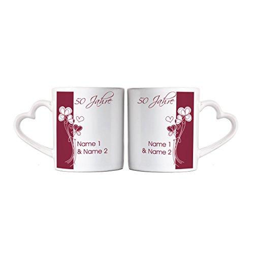 Herz & Heim® Tassen mit Herzhenkel zur Goldenen Hochzeit mit Namen