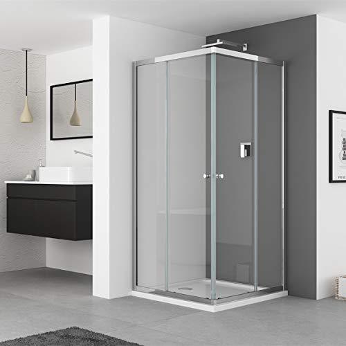 IMPTS Duschkabine 100x100 eckeinstieg mit Schiebetüren Eckkabine Duschabtrennung Duschtür Duschwand Mit 6 mm ESG Glas,185cm