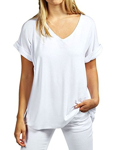 ZANZEA Damen V-Ausschnitte Kurz Ärmel Lose Langshirt T-Shirt Tops Bluse Weiß EU 42-44/Etikettgröße L