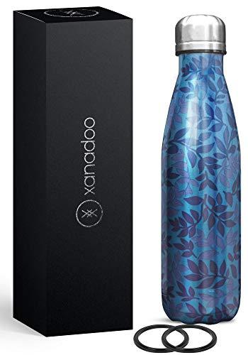 XANADOO THEBOTTLE Trinkflasche aus hochwertigem 304er Edelstahl I Thermoflasche mit doppelwandigem Vakuum-Prinzip - Simply The Best (Leafs, 500ml)