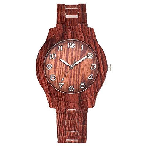 Reloj de Madera para Mujer Reloj de Madera de imitación Reloj de Color de Madera de Cuarzo de Cuero Vintage Reloj Simple para Mujer Rojo